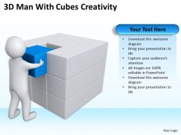 3D Man With Cubes Creativity Ppt Graphics Icons