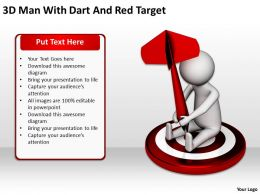 3D Man With Dart And Red Target Ppt Graphics Icons Powerpoint