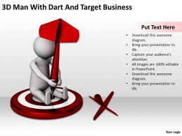 3D Man With Dart And Target Business Ppt Graphics Icons Powerpoint