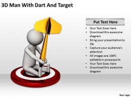 3D Man With Dart And Target Ppt Graphics Icons Ppt Graphics Icons Powerpoint