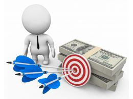 3d Man With Dollars And Target Dart With Arrows Stock Photo