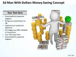 3d man with Dollars money saving concept Ppt Graphic Icon
