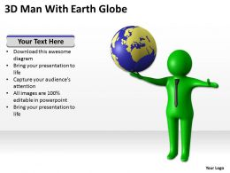 3D Man With Earth Globe Ppt Graphics Icons