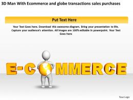 3D Man With Ecommerce and globe transactions sales purchases Ppt Graphics Icons