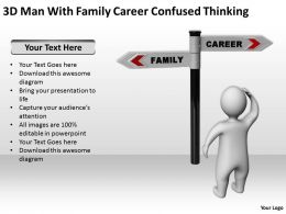 3D Man With Family Career Confused Thinking Ppt Graphics Icons Powerpoint