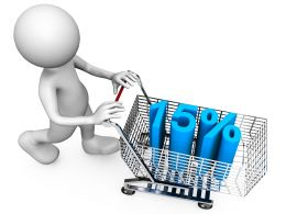 3D Man With Fifteen Percent Graphic With Cart Stock Photo