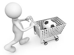 3D Man With Football In Cart Stock Photo