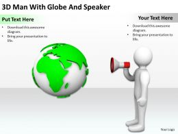 3D Man With Globe And Speaker Ppt Graphics Icons Powerpoint