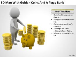 3D Man With Golden Coins And A Piggy Bank Ppt Graphics Icons