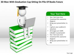 3D Man With Graduation Cap Sitting On Pile Of Books Future Ppt Graphics Icons