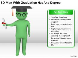 3D Man With Graduation Hat And Degree Ppt Graphics Icons PowerPoint