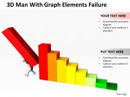 3D Man With Graph Elements Failure Ppt Graphics Icons Powerpoint
