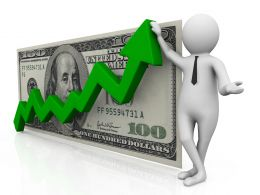 3d Man With Green Growth Arrow And Dollar Stock Photo