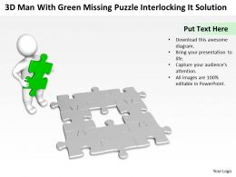 3D Man With Green Missing Puzzle interlocking it Solution Ppt Graphic Icon