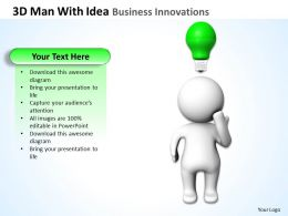 3D man With Idea Business Innovations Ppt Graphics Icons