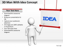 3D Man With Idea Concept Ppt Graphics Icons