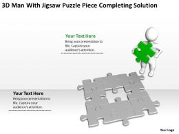 3D Man With Jigsaw Puzzle piece completing solution Ppt Graphics Icons