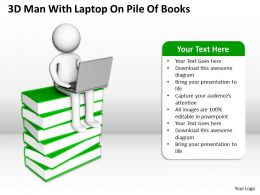 3D Man With Laptop On Pile Of Books E Learning Ppt Graphics Icons