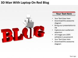 3D Man With Laptop On Red Blog Ppt Graphics Icons