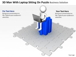 3D Man With Laptop Sitting On Puzzle Business Solution Ppt Graphics Icons