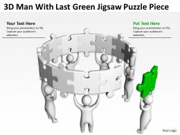 3D Man With Last Green Jigsaw Puzzle Piece Ppt Graphics Icons Powerpoint