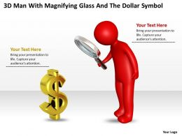 3D Man With Magnifying Glass And The Dollar Symbol Ppt Graphics Icons