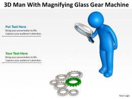 3D Man With Magnifying Glass Gear Machine Ppt Graphics Icons