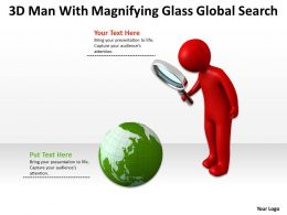 3D Man With Magnifying Glass Global Search Ppt Graphics Icons