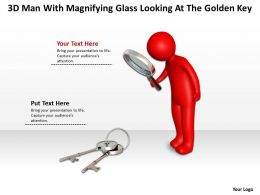 3D Man With Magnifying Glass Looking At The Golden Key Ppt Graphics Icons
