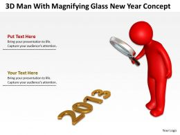 3D Man With Magnifying Glass New Year Concept Ppt Graphics Icons