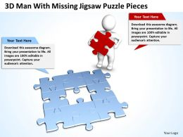 3D Man With Missing Jigsaw Puzzle Pieces Business Solution Ppt Graphics Icons