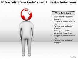 3D Man With Palnet Earth On Head Protection Environment Ppt Graphics Icons Powerpoin