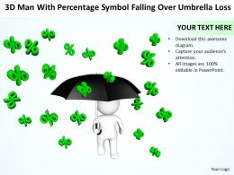 3D Man With percentage symbol falling over Umbrella loss Ppt Graphic Icon