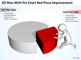 3d Man With Pie Chart Red Piece Improvement Ppt Graphics Icons Powerpoint