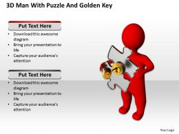 3D Man With Puzzle And Golden Key Security Business Ppt Graphics Icons