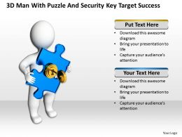3D Man With Puzzle and security key Target Success Ppt Graphic Icon