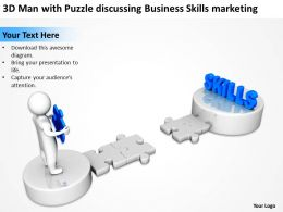 3D Man with Puzzle discussing Business Skills marketing Ppt Graphics Icons