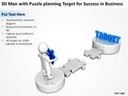 3D Man with Puzzle planning Target for Success in Business Ppt Graphics Icons