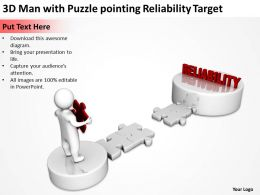 3D Man with Puzzle pointing Reliability Target Ppt Graphics Icons