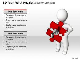 3D Man With Puzzle Security Concept Ppt Graphics Icons
