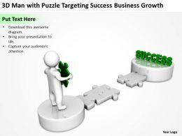 3D Man with Puzzle Targeting Success Business Growth Ppt Graphics Icons