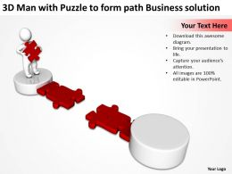 3D Man with Puzzle to form path Business solution Ppt Graphics Icons