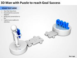 3D Man with Puzzle to reach Goal Success Ppt Graphics Icons