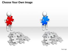3d Man With puzzles finding solution to problem Ppt Graphic Icon