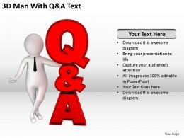 3D Man With Q and A Text Ppt Graphics Icons Powerpoint