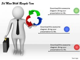 3d Man With Recycle Icon Ppt Graphics Icons Powerpoint
