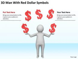 3D Man With Red Dollar Symbols Ppt Graphics Icons Powerpoint