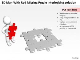 3D Man With Red Missing Puzzle Interlocking Solution Ppt Graphic Icon