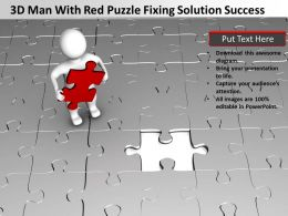 3D Man With Red Puzzle Fixing Solution Success Ppt Graphic Icon