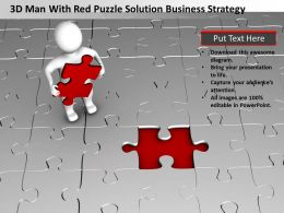 3D Man With Red Puzzle solution Business Strategy Ppt Graphic Icon